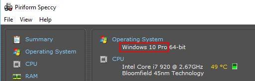 Operating System details